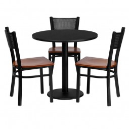 30'' Round Table Set with 3 Grid Back Metal Chairs - Black Laminate Table - 2 Styles Available