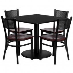 36'' Square Laminate Table Set with 4 Grid Back Metal Chairs - 2 Styles Available