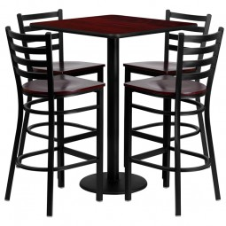 30'' Square Laminate Table Set with 4 Ladder Back Metal Bar Stools - 3 Styles Available