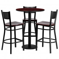 30'' Round Laminate Table Set with 3 Grid Back Metal Bar Stools - 3 Styles Available
