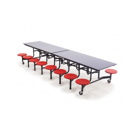 AmTab MST1216 Mobile Stool Rectangular Table 12ft with 16 Stools