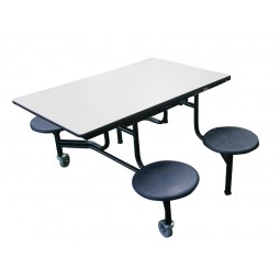 AmTab MST44 Mobile Stool Rectangular Table 4ft with 4 Stools