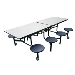 8ft Long with 8 Stools - Mobile Stool Rectangular Table by AmTab MST88