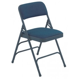 NPS Fabric Upholstered Premium Folding Chair - Imperial Blue Fabric - Blue Frame - 2304