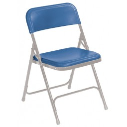 NPS Premium Plastic Lightweight Folding Chair - Blue Plastic - Gray Frame - 805