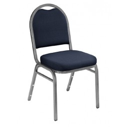 NPS Dome Stack Chair - Silvervein Frame - Midnight Blue Fabric Upholstery - 9254-SV