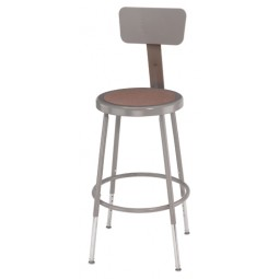 NPS 6200HB Series Gray Lab Stools with Round Hardboard Seat & Back - Three Adjustable Heights
