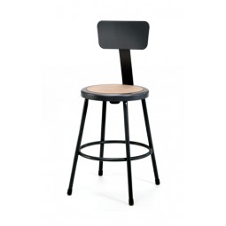 """NPS Black Lab Stool with Round Hardboard Seat & Backrest - 24"""" Fixed Height - 6224B-10"""