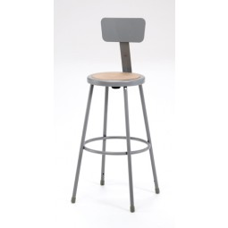 """NPS Gray Lab Stool with Round Hardboard Seat & Backrest - 30"""" Fixed Height - 6230B"""