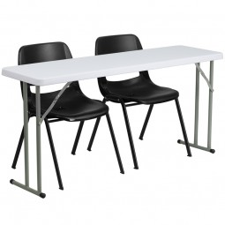 18'' x 60'' Plastic Folding Training Table with 2 Black Plastic Stack Chairs