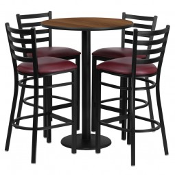 30'' Round Table Set with 4 Ladder Back Metal Bar Stools - Walnut Laminate Table - Burgundy Vinyl Seat