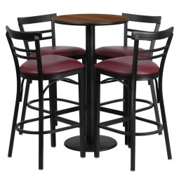 24'' Round Table Set with 4 Ladder Back Metal Bar Stools - Wlnut Laminate Table - Burgundy Vinyl Seat