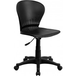 Mid-Back Plastic Swivel Task Chair - Black