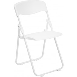 Signature Series 880 lb. Capacity Heavy Duty White Plastic Folding Chair