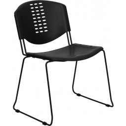 Signature Series 400 lb. Capacity Black Plastic Stack Chair with Black Powder Coated Frame Finish