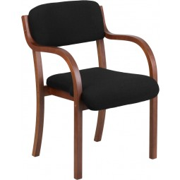 Contemporary Wood Side Chair with Black Fabric - Walnut Frame