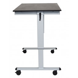 "Luxor STANDCF60-AG/BO 60"" Crank Adjustable Stand Up Desk - Black Oak Top & Silver Frame"