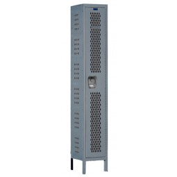 "Hallowell Heavy-Duty Ventilated (HDV) Locker, 12""W x 15""D x 78""H, 725 Hallowell Gray, Single Tier, 1-Wide"