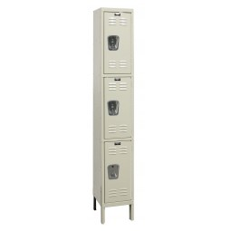 "Hallowell Galvanite Locker, 12""W x 18""D x 78""H, 729 Parchment, Triple Tier, 1-Wide"