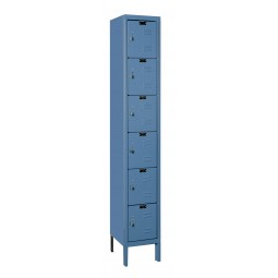 "Hallowell Premium Locker, 12""W x 15""D x 78""H, 707 Marine Blue, 6-Tier, 1-Wide"