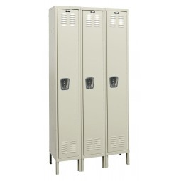 "Hallowell Premium Locker, 54""W x 18""D x 78""H, 729 Parchment, Single Tier, 3-Wide"