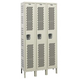 "Hallowell Heavy-Duty Ventilated (HDV) Locker, 36""W x 15""D x 78""H, 729 Parchment, Single Tier, 3-Wide"