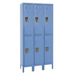 "Hallowell Premium Locker, 36""W x 15""D x 78""H, 707 Marine Blue, Double Tier, 3-Wide"