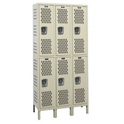 "Hallowell Heavy-Duty Ventilated (HDV) Locker, 36""W x 18""D x 78""H, 729 Parchment, Double Tier, 3-Wide"
