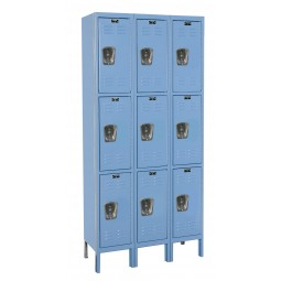 "Hallowell Premium Locker, 36""W x 12""D x 78""H, 707 Marine Blue, Triple Tier, 3-Wide"