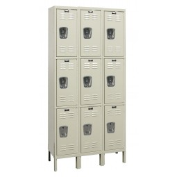 "Hallowell Galvanite Locker, 36""W x 18""D x 78""H, 729 Parchment, Triple Tier, 3-Wide"
