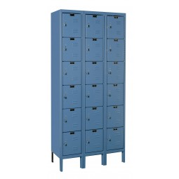 "Hallowell Premium Locker, 36""W x 15""D x 78""H, 707 Marine Blue, 6-Tier, 3-Wide"