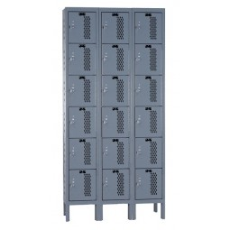 "Hallowell Heavy-Duty Ventilated (HDV) Locker, 36""W x 12""D x 78""H, 725 Hallowell Gray, 6-Tier, 3-Wide"