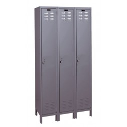 "Hallowell Value Max Locker, 36""W x 15""D x 78""H, 725 Hallowell Gray, Single Tier, 3-Wide"