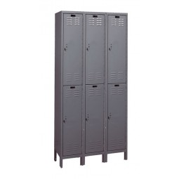 "Hallowell Value Max Locker, 36""W x 12""D x 78""H, 725 Hallowell Gray, Double Tier, 3-Wide"