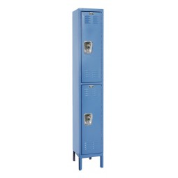 "Hallowell ReadyBuilt Locker, 12""W x 15""D x 78""H, Blue, Double Tier, 1-Wide, Assembled"
