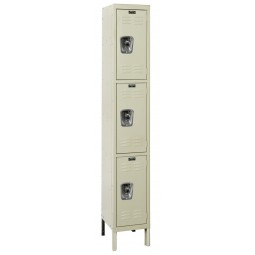 "Hallowell ReadyBuilt Locker, 12""W x 12""D x 78""H, 729 Parchment, Triple Tier, 1-Wide"