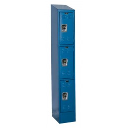 "Hallowell ReadyBuilt II Locker, 12""W x 18""D x 84""H, 707 Marine Blue, Triple Tier, 1-Wide"