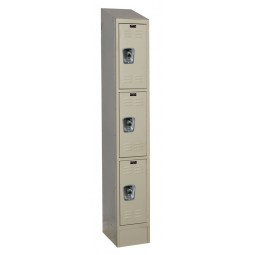"Hallowell ReadyBuilt II Locker, 12""W x 18""D x 84""H, 729 Parchment, Triple Tier, 1-Wide"
