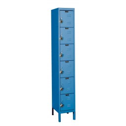 "Hallowell ReadyBuilt Locker, 12""W x 15""D x 78""H, 707 Marine Blue, 6-Tier, 1-Wide"