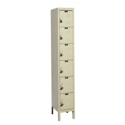 "Hallowell ReadyBuilt Locker, 12""W x 12""D x 78""H, 729 Parchment, 6-Tier, 1-Wide"