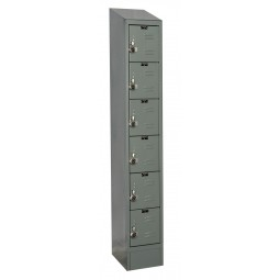 "Hallowell ReadyBuilt II Locker, 12""W x 18""D x 84""H, 725 Hallowell Gray, 6-Tier, 1-Wide"