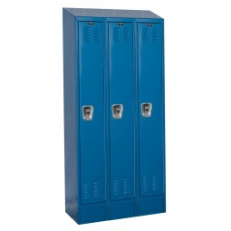 "Hallowell ReadyBuilt II Locker, 36""W x 18""D x 84""H, 707 Marine Blue, Single Tier, 3-Wide"
