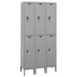"Hallowell ReadyBuilt Locker, 36""W x 15""D x 78""H, Gray, Double Tier, 3-Wide, Assembled"