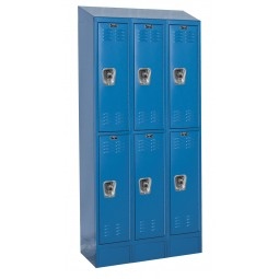 "Hallowell ReadyBuilt II Locker, 36""W x 15""D x 83""H, 707 Marine Blue, Double Tier, 3-Wide"