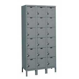 "Hallowell ReadyBuilt Locker, 36""W x 15""D x 78""H, 725 Hallowell Gray, 6-Tier, 3-Wide"