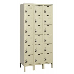 "Hallowell ReadyBuilt Locker, 36""W x 18""D x 78""H, 729 Parchment, 6-Tier, 3-Wide"