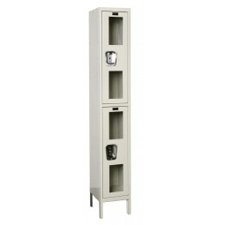 "Hallowell Safety-View Locker, 12""W x 15""D x 78""H, 729 Parchment, Double Tier, 1-Wide"