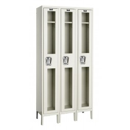 "Hallowell Safety-View Locker, 36""W x 15""D x 78""H, 729 Parchment, Single Tier, 3-Wide"