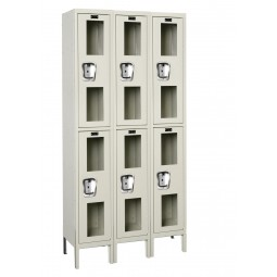 "Hallowell Safety-View Locker, 36""W x 15""D x 78""H, 729 Parchment, Double Tier, 3-Wide"