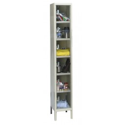 "Hallowell Safety-View Plus Locker, 12""W x 15""D x 78""H, 729 Parchment, 6-Tier, 1-Wide"